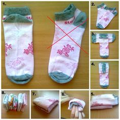 KonMari järjestys viikkaus sukat How to fold socks neatly and organized. Home Organisation, Closet Organization, Clothing Organization, Folding Socks, Organizar Closet, Ideas Para Organizar, Getting Organized, Clean House, Diy Clothes