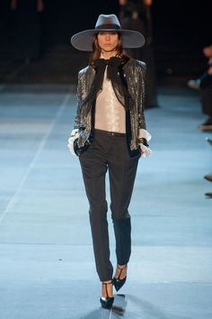 Saint Laurent Paris... I hate how they drop the Yves :-/ but i still like that hat & jacket!!!