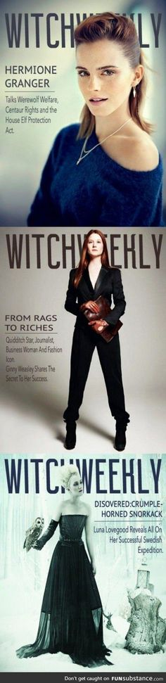 Ginny Weasley on the cover of witch weekly. This is what Ginny should have looked like dropping her boys off at the Hogwarts Express at the end of HPDH. Much more to what her life post Hogwarts sounds like. Harry Potter World, Mode Harry Potter, Harry Potter Jokes, Harry Potter Universal, Harry Potter Fandom, Hermione, Fandoms, Expecto Patronum Harry Potter, Photo Glamour