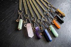 Hammered Triangle Crystal Pendant Necklace. Quartz Crystal, Lapis Lazuli, Tigers Eye, Amethyst. Boho, Hippie, Vegan, Statement, Gift, Raw