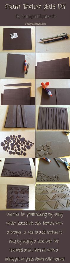 DIY Texture plates! This is an easy project to get students to understand positive and negatives in texture. The fact that this texture plate can be used for printmaking or pottery shows students connections between various types of art! This could easily be altered to be made with wood, foam core, or other thick, flat sheets!  #DIY #ceramics #pottery #art #printmaking