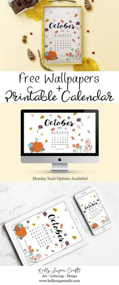 Free Printable October 2017 Calendar + Wallpapers by Kelly Sugar Crafts