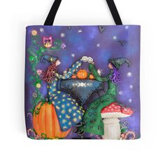 $27.50 #witch #witches #witchesteaparty #teaparty #witchart #tote #totebag #bag #witchtotebag #witchaccessories Tea Party Witches love getting together by the light of the full moon.They pull up a toadstool or a pumpkin to sit on.They drink tea and hot chocolate from skully cups and a pumpkin teapot.Their cupcakes are topped with buttercream and cherries. Bats and crows love attending witch tea parties because there are always fun stories to be heard.