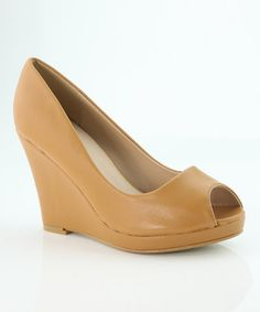 Love this Tan Charm Peep-Toe Pump on #zulily! #zulilyfinds