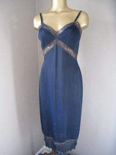 Vintage NavY Blue Accordian Pleated Slip/Dress by LunaPerro, $10.00