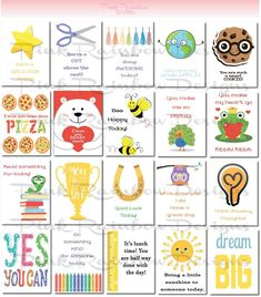 20 Lunch Box Notes Cards with Motivational Messages for 2016 17 Kids Children Kindergarten Lunchbox Notes For Kids, Lunch Notes, Kids Notes, Mom Jokes, Jokes For Kids, School Notes, School Lunch, School Fair, Kindergarten