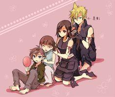 Final Fantasy 7 Advent Children Denzel, Marlene, Tifa Lockhart, Cloud Strife