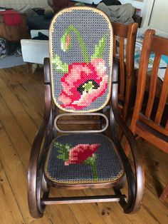 Cross stitch community - patterns, discussions, giveaways, and competition! Cute Embroidery, Cross Stitch Embroidery, Cross Stitch Designs, Cross Stitch Patterns, Crafts To Make, Home Crafts, Rocking Chair Makeover, Chair Repair, Patterned Chair