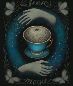 My Bootcamp assignment for MATS - to design a journal cover about Tea Leaf reading. Im not really into readings but such a fun subject to research Reading Tea Leaves, Tea Reading, Tarot, Magick, Witchcraft, Wicca, Pagan, Tea Illustration, Symbolic Art
