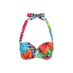 George Tropical Print Bikini Top ($11) ❤ liked on Polyvore featuring swimwear, bikinis, bikini tops, green, underwire bikini tops, halter bikini tops, halter neck bikini top and underwire halter bikini top