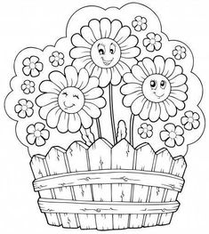 basket of flowers daisy flowers daisies kids coloring pages coloring sheets coloring books craft digi stamps drawing