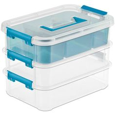 The Sterilite Latch Boxes are designed to keep small accessories and craft supplies neatly stored away.