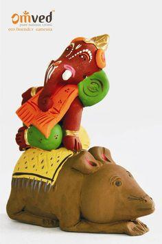Musuka Vahan Ganpati eco-friendly Ganesha idol - handcrafted using pure (lead-free) earthen or natural terracotta. Happy Ganesh Chaturthi. Go Green. Celebrate consciously.