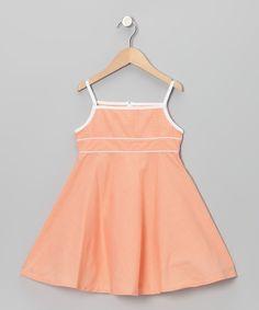 Orange Gingham Babydoll Dress - Toddler