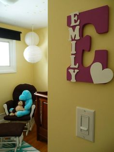 Baby Name Letters. i like for living room w/ family name too :]