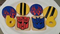 Transformer cookies Transformers Cupcakes, Transformers Birthday Parties, Thank You Cookies, Cookies For Kids, Leo Birthday, 4th Birthday Parties, Cookie Designs, Cookie Ideas, Birthday Cookies