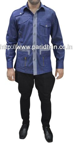 Mens safari shirt made in blue color jeans fabric with black color cotton breeches style pant.