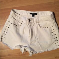White studded shorts White studded shorts Forever 21 Shorts Jean Shorts