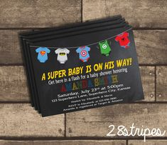 A SUPERBABY is on his way! Enjoy a superhero themed baby shower with Batman, Spiderman, Captain America, The Hulk, and Superman themed onesies on a chalkboard background.  These invitations are available in both a PRINTED and DIGITAL format. Please choose your desired choice from the drop down menu