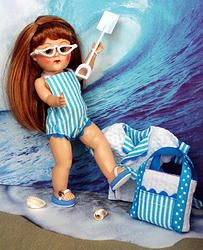 "Ginny's ~GoiN' To THe BeaCH!~ in Aqua Stripe. A 5 PC hand tailored ORIGINAL design outfit for Vintage or Vintage Reproduction Ginny 7.5"" dolls. Also fits 7.5"" Muffie, Ginger, and Madame Alexander before the years 2000. You get the sun/swimsuit, the beachcoat/jacket/coverup, the fully lined matching beach bag, a terry beach towel in Ginny's size, and the white repro sunglasses. I created the flip flops to match and they are available separately for purchase. At my website www.karmelapples.com"