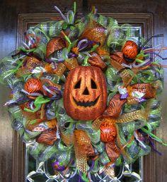 Deco Mesh HALLOWEEN JACK-O-LANTERN Wreath. $125.00, via Etsy.
