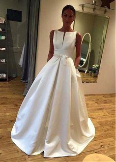 Elegant Satin Bateau Neckline A-line Wedding Dress With Bowknot & Pockets
