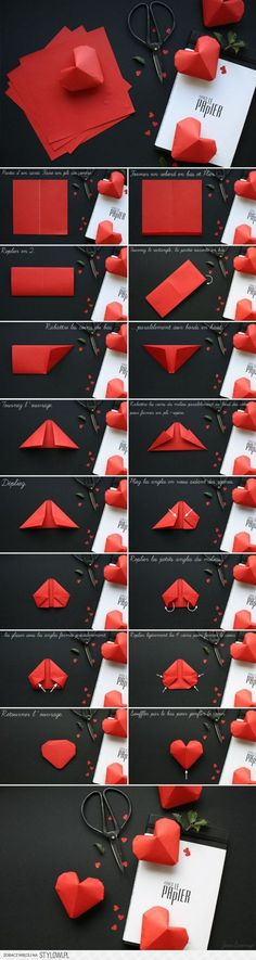 Elegant Best Origami Tutorials - Pump Origami - Easy DIY Origami Tutorial Projects to G .Elegant Best Origami Tutorials - Pump Origami - Simple DIY Origami Tutorial Projects for . simple origami projects tutorial Make Diy Origami, Origami Simple, Useful Origami, Origami Wedding, 3d Origami Heart, Easy Origami Tutorial, Wedding Card, Paper Hearts Origami, Origami Flowers Tutorial