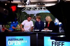 Behind the scenes with Stan Wawrinka - Stan Wawrinka joins the Channel 7 team of Jim Courier and Johanna Griggs after winning hte men's final. (Photo by: Ben Solomon/Tennis Australia)