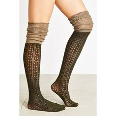 Tonal Scrunchy Over-The-Knee Sock ($14) ❤ liked on Polyvore featuring intimates, hosiery, socks, green, green thigh high socks, thigh-high socks, cable knit thigh high socks, over-the-knee socks and above the knee socks