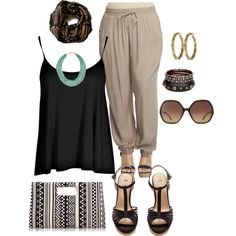 """""""plus size sunday out"""" by kristie-payne on Polyvore. Neutrals and black with a drawstring pants. Chic and fun look"""