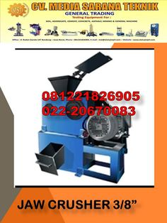"LAB MINING EQUIPMENT CV MEDIA SARANA TEKNIK: JUAL Jaw Crusher 3/8 "" Mining Equipment, Lab, Labs"