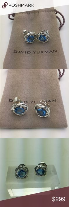 David Yurman Blue Topaz Infinity Earrings. David Yurman Authentic Blue Topaz Earrings in Sterling Silver. Condition like New. Comes with Original DY pouch. No Trade. David Yurman Jewelry Earrings