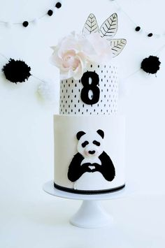 this cake at a panda birthday party! See more party planning ideas at ! Panda Birthday Cake, White Birthday Cakes, 2nd Birthday, Birthday Parties, Panda Themed Party, Panda Party, Bolo Panda, Panda Baby Showers, Panda Cakes