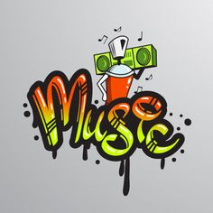 Buy Graffiti word Character Print by macrovector on GraphicRiver. Graffiti spray can character element with player music notes word drippy font text sample grunge vector illustration. Graffiti Alphabet, Music Graffiti, Graffiti Quotes, Graffiti Writing, Graffiti Font, Graffiti Designs, Graffiti Styles, Art Quotes, Graffiti Art Drawings