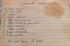 Homemade Carrot Cake -- vintage recipe