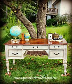 Desk Makeover With Chalk Paint� by Annie Sloan in Old White.