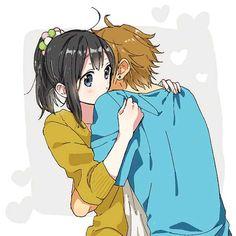 Boyfriend and girlfriend kissing, anime boyfriend, anime people, anime guys, manga anime Tv Anime, Anime Eyes, Anime Manga, Anime Couples Hugging, Anime Couples Drawings, Couple Hugging, Anime Couple Kiss, Drawing Cartoon Faces, Tamako Love Story