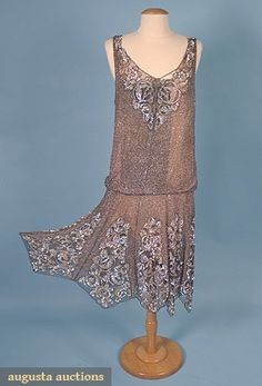 Augusta Auctions, April 2006 Vintage Clothing & Textile Auction, Lot 651: Beaded  Sequinned Deco Dress, Mid 1920s