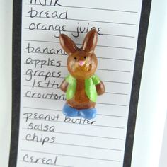 Boy bunny magnet - cute fridge magnets, lil' bunny rabbit, kitchen decor, refrigerator magnets, cute bunny. $12.00, via Etsy.