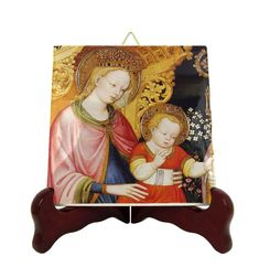 Catholic wall decor - Madonna and Child icon on tile - christian art - religious gifts - Virgin Mary and Child Jesus - catholic decor Catholic Gifts, Catholic Prayers, Catholic Art, Religious Gifts, Religious Icons, Christian Gifts, Christian Art, Tile Murals, Madonna And Child