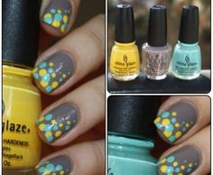 Turquoise, Canary Yellow & Gray Nails -May try without the turquoise, but it's kinda growing on me.