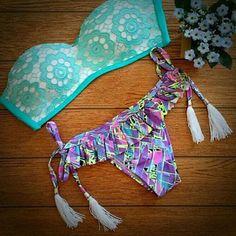 Printed lace sexy bikini