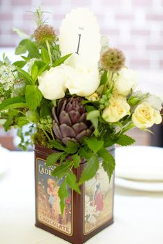 Vintage tin floral arrangement with table number- this would look great raised on a stack of books Wedding Table Centerpieces, Flower Centerpieces, Flower Vases, Wedding Tables, Centerpiece Ideas, Yellow Grey Weddings, Wedding Arbors, Yosemite Wedding, Wedding Trends