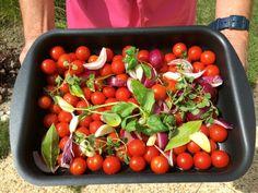 Garden Recipe: Fresh-off-the-vine cherry tomato & zucchini stew Geneva, Cherry Tomatoes, Vegetable Garden, Stew, Zucchini, Fresh, Vegetables, Creative, Blog