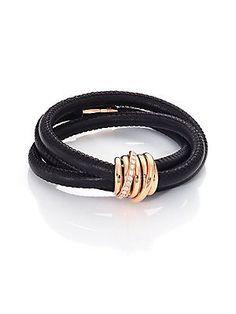 de GRISOGONO Allegra Diamond, 18K Rose Gold & Leather Wrap Bracele