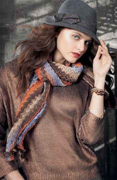 Collection XIIX 'Sandstone Fins' Scarf & Nordstrom Pic-Stich Fedora #Nordstrom #AugustCatalog