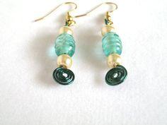 Green Wire Wrap Bead dangle Earrings by 2012BellaVida on Etsy, $10.00