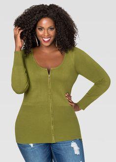 cdc1577fd4b59 Basic Zip Cardigan Plus Size Tops