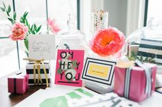 Instead of the traditional candy bar with takeaway bags, which has been done about a zillion times before, why not offer your guests a selection of stationery to take home and enjoy?!