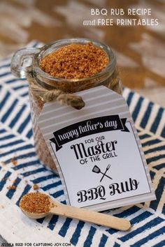 Barbeque (BBQ) Rub Recipe idea and free printable - perfect for family Father's day or host party gift thank you.